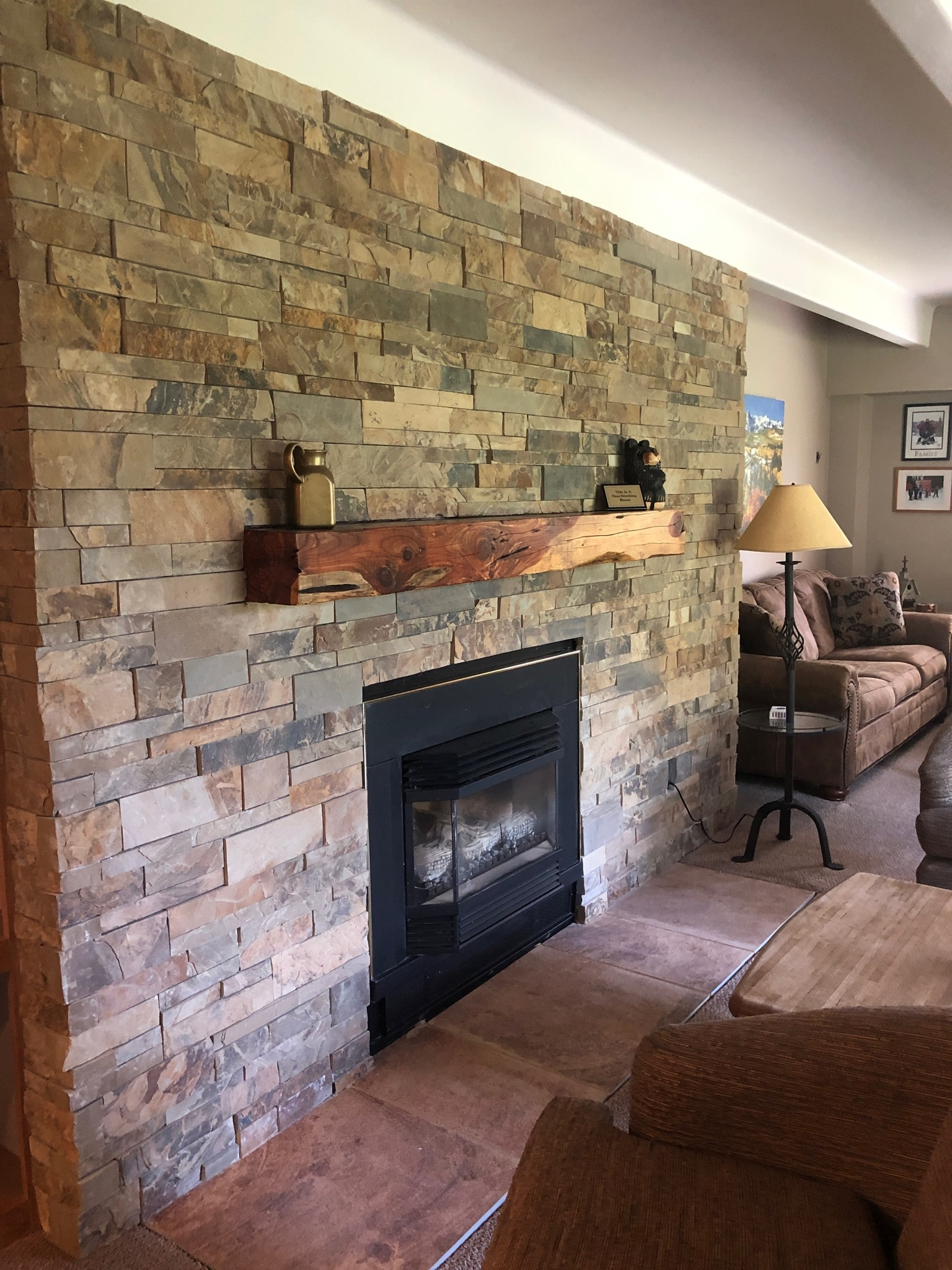 Sebastian sawn telluride stone - Covering brick fireplace with tile ...