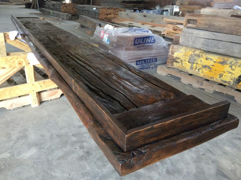 Bar top with threshing floor boards