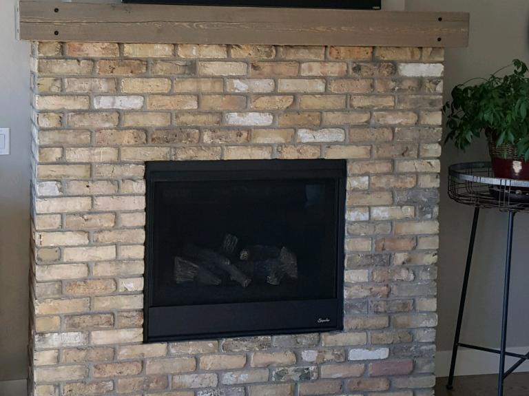 Germantown brick / fireplace