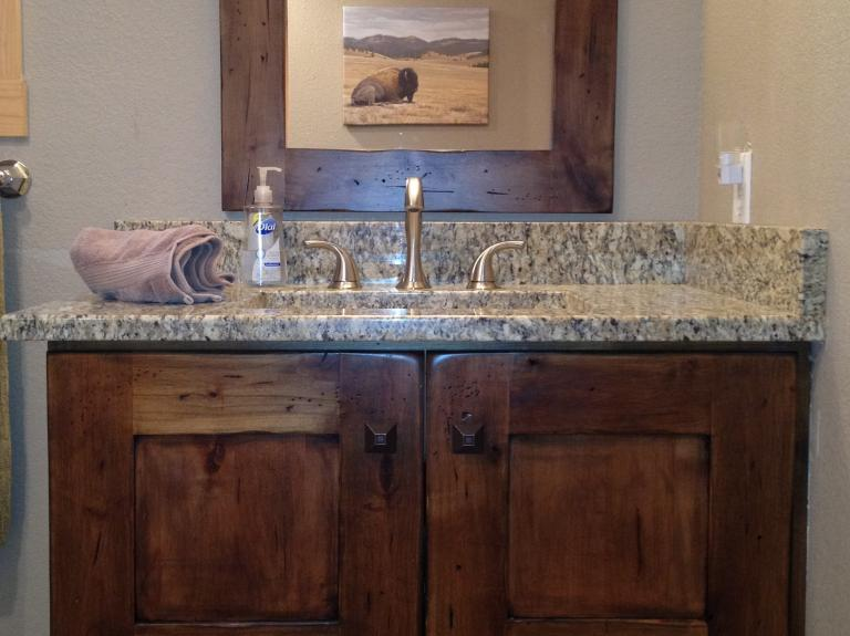 Oak Siding Vanity with Mirror