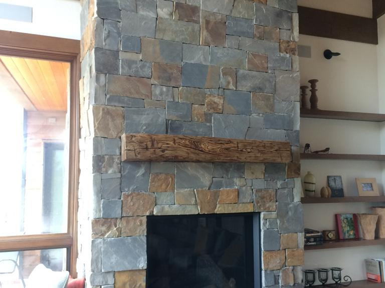 reclaimed wood mantle with Mtn Ash