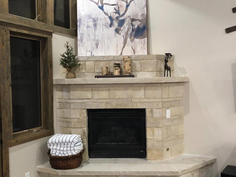 White Buff Fireplace with Matching Hearth