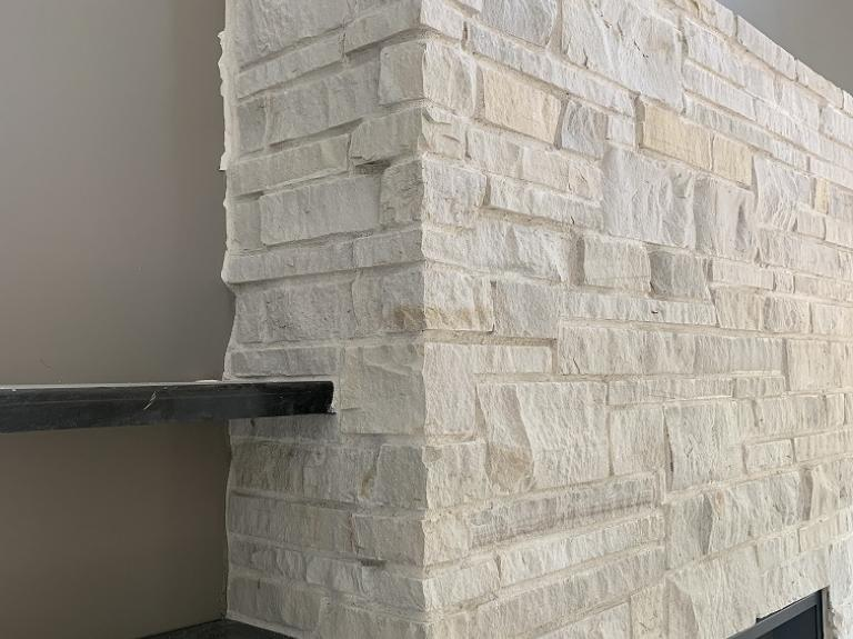White Buff Fireplace with Shelves